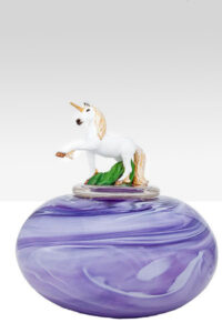 Custom Urn: The Unicorn in glass and hand-painted resin