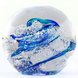 Hand-blown glass cremation keepsake urn