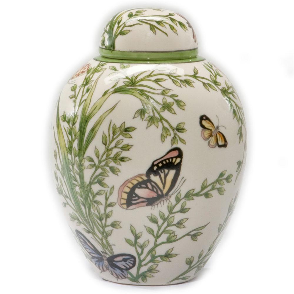 Springtime Butterfly Jar Ceramic Urn