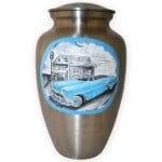 Driving off in style: Blue Chevy Convertible Custom Memorial Urn
