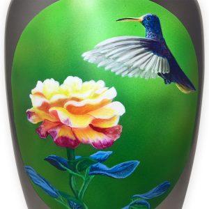 Memorial urn with hummingbird